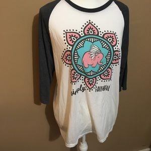 3/$18 Simply Faithful Baseball T-shirt Elephant